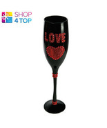 LOVE CHAMPAGNE WINE GLASS FLUTE RED BLACK BOXED GLITTER WOMAN NOVELTY EL... - $11.77