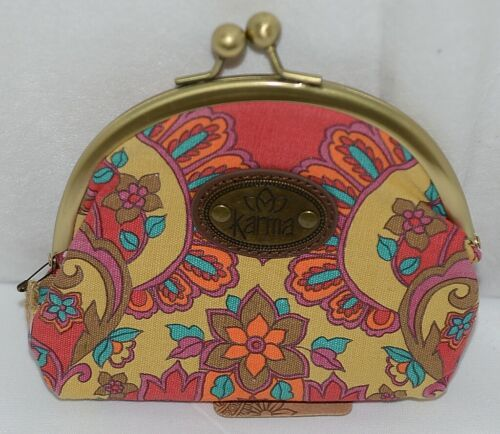 Karma Brand KA110330 Red Tan Color Floral Lock Coin Purse With Card Slots