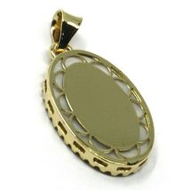 18K YELLOW WHITE GOLD MIRACULOUS MEDAL, MOTHER OF PEARL, ZIRCONIA, PENDANT image 4