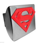 SUPERMAN RED SHIELD EMBLEM ON CHROME METAL USA MADE TRAILER HITCH COVER  - $72.19
