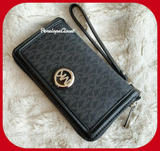 MICHAEL KORS FULTON LG MULTIFUNCTION PHONE CASE WALLET WRISTLET MK BLACK - $127.59