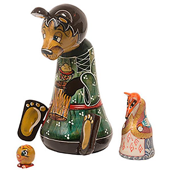 """Bear w/ Kolobok Nesting Doll - 5"""" w/ 3 Pieces"""