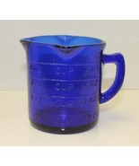 New Cobalt Blue Glass Measuring Cup 3 Spout Retro Depression Style - $10.00