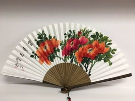 Vintage Hand Painted Paper And Bamboo Fan - $14.54