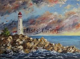 Lighthouse Original Oil Painting Seascape Palette Knife Shore Impasto Se... - $85.00