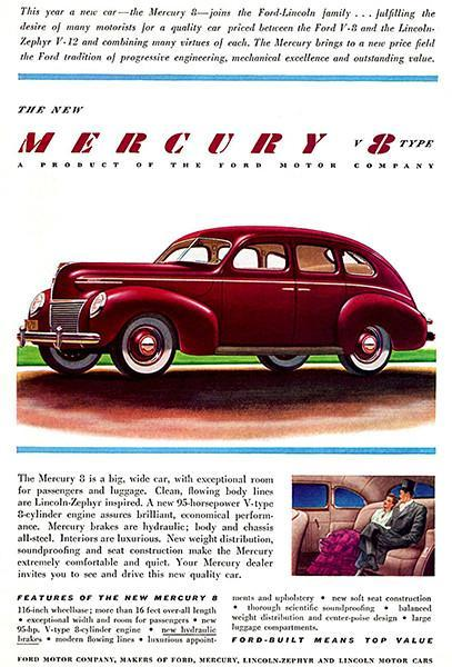 Primary image for 1939 Mercury Eight Town-Sedan - Promotional Advertising Poster