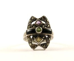Vintage Marcasite Multi Color Crystals Design Ring 925 Sterling RG 971 - $16.99