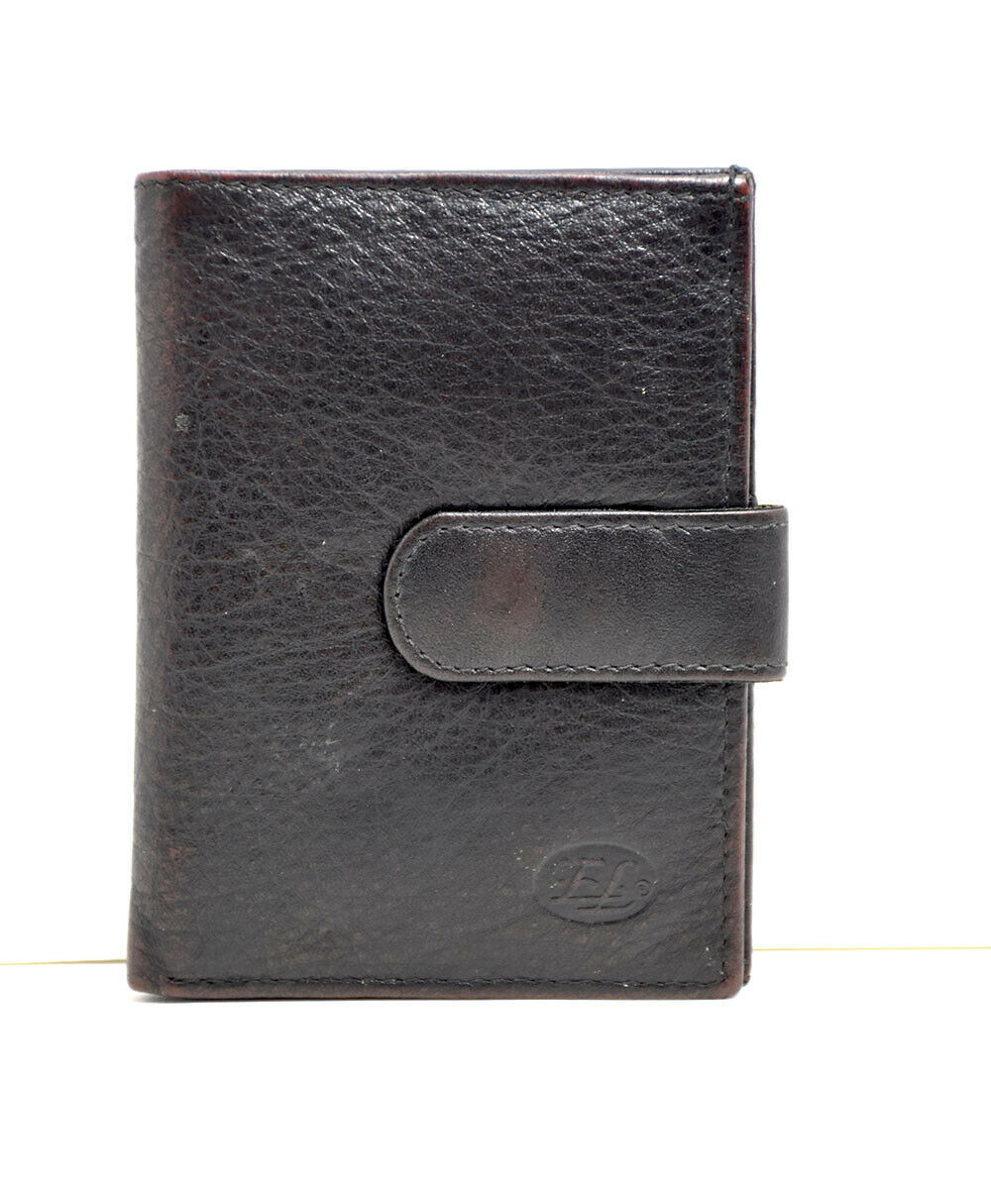 Primary image for Florentino Italian Leather Slim Bifold Card Wallet Holder Snap Closure Brown