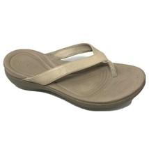 Crocs Womens Open Toe Sandals Size 10 Beige Thong Comfort Shoes - $17.82