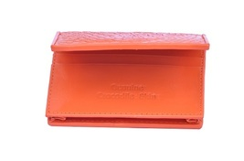 Astute Pumpkin Orange Color Classic Sterling Crocodile Leather Astute Men Wallet - $176.39