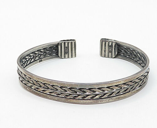 925 Sterling Silver - Vintage Dark Tone Wheat Pattern Cuff Bracelet - B4906