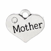 3 pcs Heart MOTHER Pendants Dangle Charms Siver tone jewelry finding DIY... - $2.50
