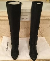 Givenchy Black Lace Knee High Boots Size 38.5 - $550.00