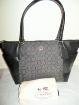 NEW COACH F54797 Charcoal Gray Black Leather Jacquard Signature Ava ii Tote - $150.99