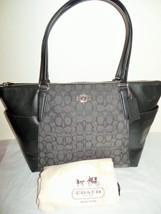 NEW COACH F54797 Charcoal Gray Black Leather Jacquard Signature Ava ii Tote - €132,78 EUR