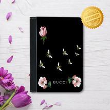 Leather Passport Cover - Passport Holder Case -Black flowers fashion lov... - $15.74