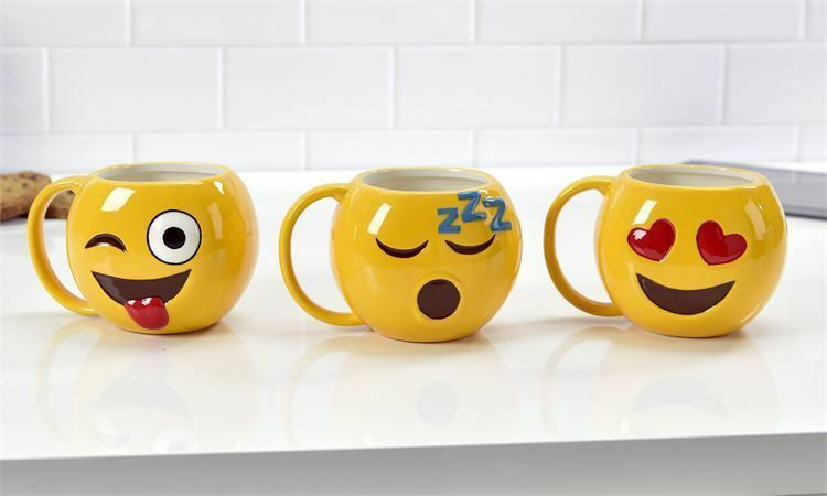 Set of 3 - Emoji Design 18.6 oz Mugs - Ceramic - Wink, Sleep, Love