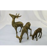 """Brass Stag Buck 6"""" Doe and Fawn 2.75"""" Deer Figure Lot - $39.95"""