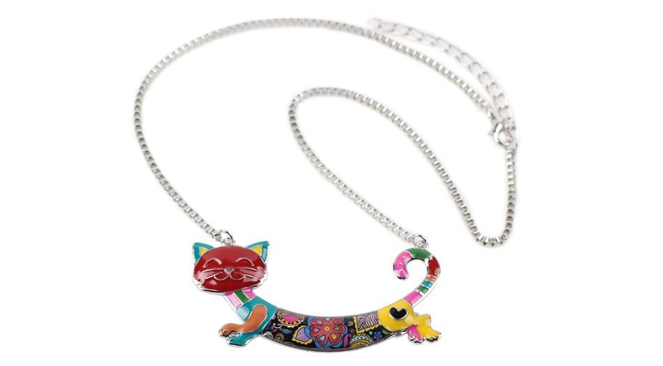 Bonsny Cute Happy Enamel Ladies Cat Themed Necklace / Choker image 9
