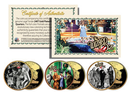 Wizard of Oz MOVIE SCENES Gold Plated Kansas State Quarter 3-Coin Set LI... - $10.36