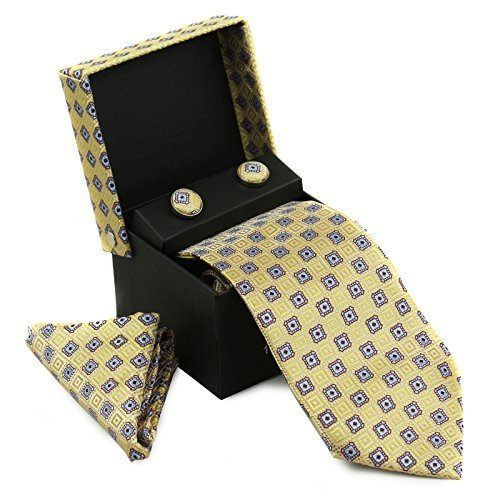 Berlioni Men's Silk Neck Tie Box Set With Cufflinks & Pocket Square (2074 - Yell
