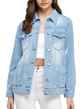 Women's Classic Casual Cotton Lightweight Distressed Denim Button Up Jean Jacket image 3