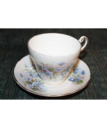 cup and saucer Regency English blue flowers vintage England gold trim - $10.89