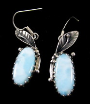 So Pretty!Aqua Larimar Pectolite Gem 925 Silver Floral Leaf Dangle Earri... - $48.50