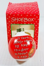 If Found Please Return Glass Christmas Tree Ornament Rudolph Nose - $11.69