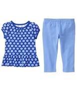 Gymboree 2T Mix N Match Flower Print Peplum Tunic Top Blue Leggings NWT - $12.19