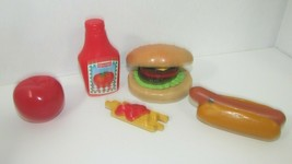 Fisher Price Fun with Food play build a burger fries ketchup apple set h... - $16.82