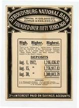 Stroudsburg National Bank August 1912 Deposits Card Pennsylvania - $17.82
