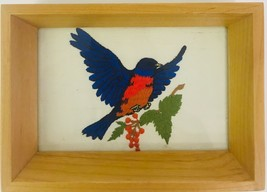 Embroidered Bird With Holly On Silk Stitching Wood Framed Shadow Box Sty... - $59.39