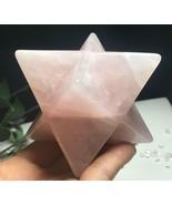 Rose Natural Quartz Crystal Merkaba Star Carved Healing L070205 - $65.29