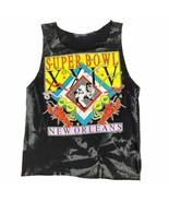Vintage Super Bowl XXIV New Orleans Cut Off Tank Muscle Shirt Black Tie Dye - $24.99