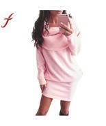 Autumn Winter Fashion Women Dress Long Sleeve Bodycon Lapel Sweater - $21.04