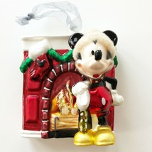 Disney Touch of Magic Mickey Mouse Santa Hat Fireplace Hand Blown Glass Ornament - $14.00