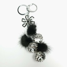 Furry Pom Pom Key Chain Handmade Soft Bling Flower Clasp and Split Key Ring - $14.84