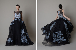 Black silk organza gown ; Hand painted evening dress ; Black wedding dress - $1,400.00