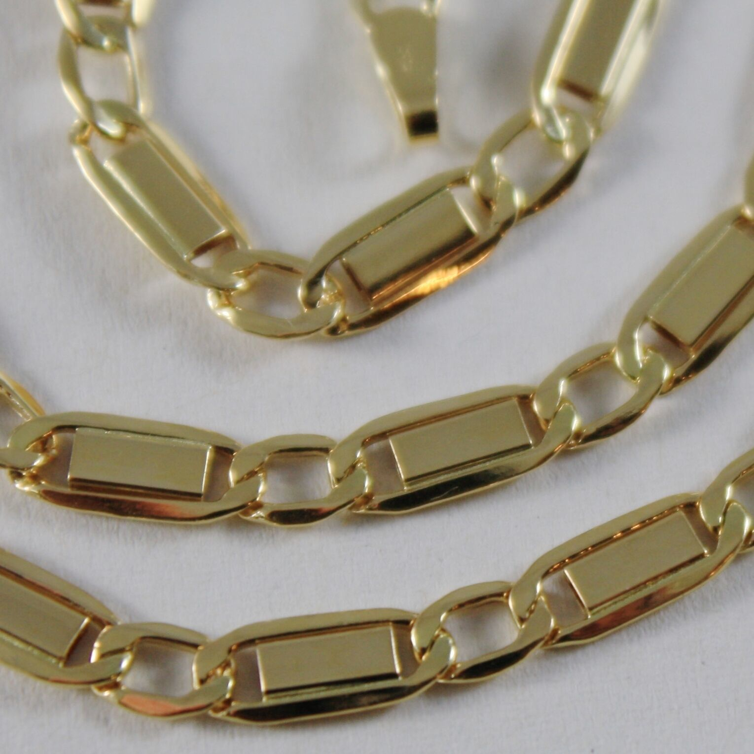 18K YELLOW GOLD CHAIN FLAT GOURMETTE ALTERNATE 4 MM OVAL LINK 15.7 MADE IN ITALY