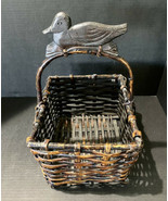 Vintage Rustic Country Farmhouse Wooden Square Basket With Duck Carved O... - $26.18
