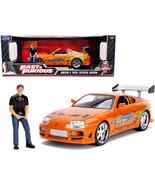 1995 Toyota Supra Orange Metallic with Lights and Brian Figurine Fast & ... - $89.00