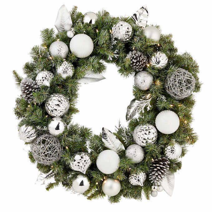 "32"" Pre-Lit Silver Ornament Wintery Pine Artificial Christmas Wreath NEW"