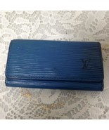 Authentic, Louis Vuitton, Blue Epi Leather 4-Hooks Key Case 4.25in x 2.25in - $66.45