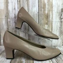 Easy Spirit Womens 8N Classic Dress Pumps Brown Leather Block Heel  - $47.48 CAD