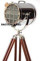 Sporlight Hollywood Style Floor Lamp Brown Tripod Lamps Chrome Silver & Nickel F - $126.72