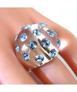 New Clear Acrylic Domed Ring Blue Swarovski Elements Crystal On Dome Lun... - $27.00