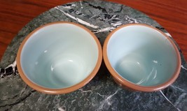 Taylor Smith Chateau Buffet Pair of Custard Cups Brown w Teal **Free Shi... - $12.50