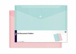 A3 Document Folder 2 Assorted Pastel Colour Plastic Carry Wallets File F... - $5.33
