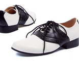 "ELLIE 105-SADDLE 50s COSTUME PUNK DANCE RETRO VINTAGE 1"" HEEL OXFORD FLATS SHOES"